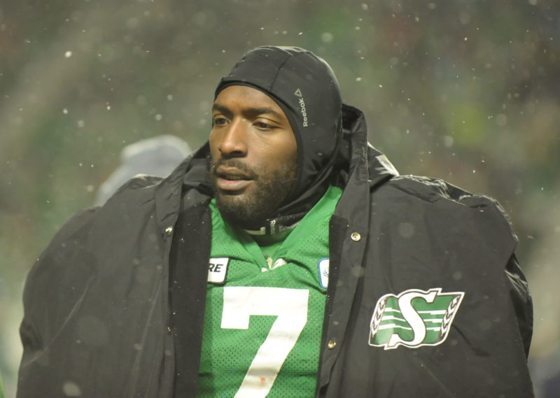 Saskatchewan Roughriders defensive lineman Willie Jefferson states warm on the sidelines during second half CFL West Division semifinal action against the Winnipeg Blue Bombers in Regina on Sunday, Nov. 11, 2018. THE CANADIAN PRESS/Mark Taylor