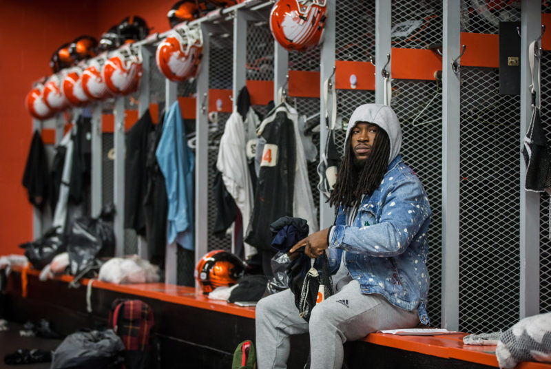 B.C. Lions running back Wayne Moore cleans out his locker after an end of season meeting at the CFL football team's practice facility, in Surrey, B.C., on Tuesday November 13, 2018. THE CANADIAN PRESS/Darryl Dyck