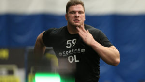 Manitoba OL Zack Williams runs the 40-yard dash during the CFL National Combine pres. by New Era Canada (CFL.ca Photo/Peter Power)