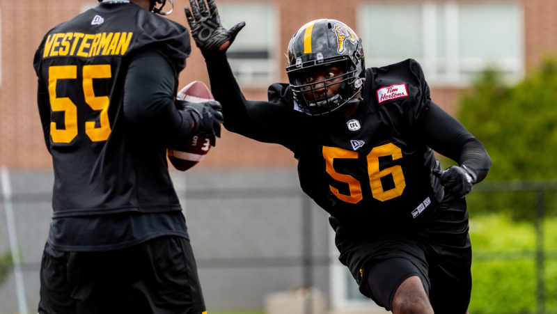 Ja'Gared Davis led the Ticats in sacks and forced fumbles in 2019. (Ticats.ca)