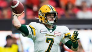 Trevor Harris makes a pass in the first half of Edmonton's Week 5 meeting with the Lions. (Jimmy Jeong, CFL.ca)