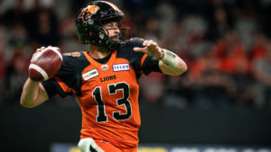 BC Lions quarterback mike Reilly makes a pass attempt against the Ottawa REDBLACKS in Week 14. (Johany Jutras, CFL.ca)