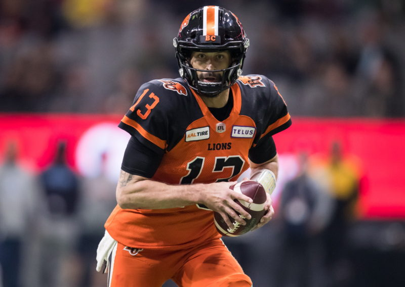B.C. Lions quarterback Mike Reilly runs the ball during first half CFL football action against the Toronto Argonauts, in Vancouver, Saturday, Oct. 5, 2019. THE CANADIAN PRESS/Darryl Dyck