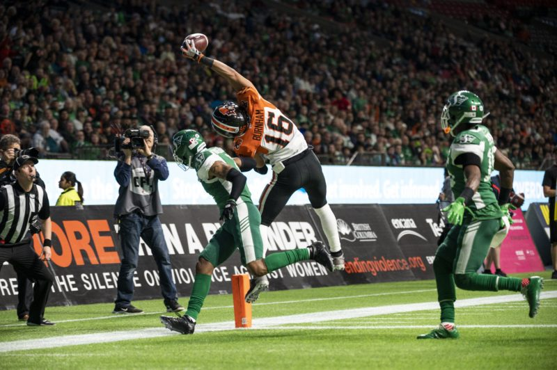 BC Lions wide receiver Bryan Burnham (16) attempts a catch in the end zone but is ruled out of bounds during CFL action in Vancouver, B.C., Friday, October 18, 2019. (CFL PHOTO - Jimmy Jeong)