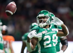 Saskatchewan Roughriders' William Powell celebrates after rushing for a touchdown against the B.C. Lions during the first half of a CFL football game in Vancouver, on Friday October 18, 2019. THE CANADIAN PRESS/Darryl Dyck