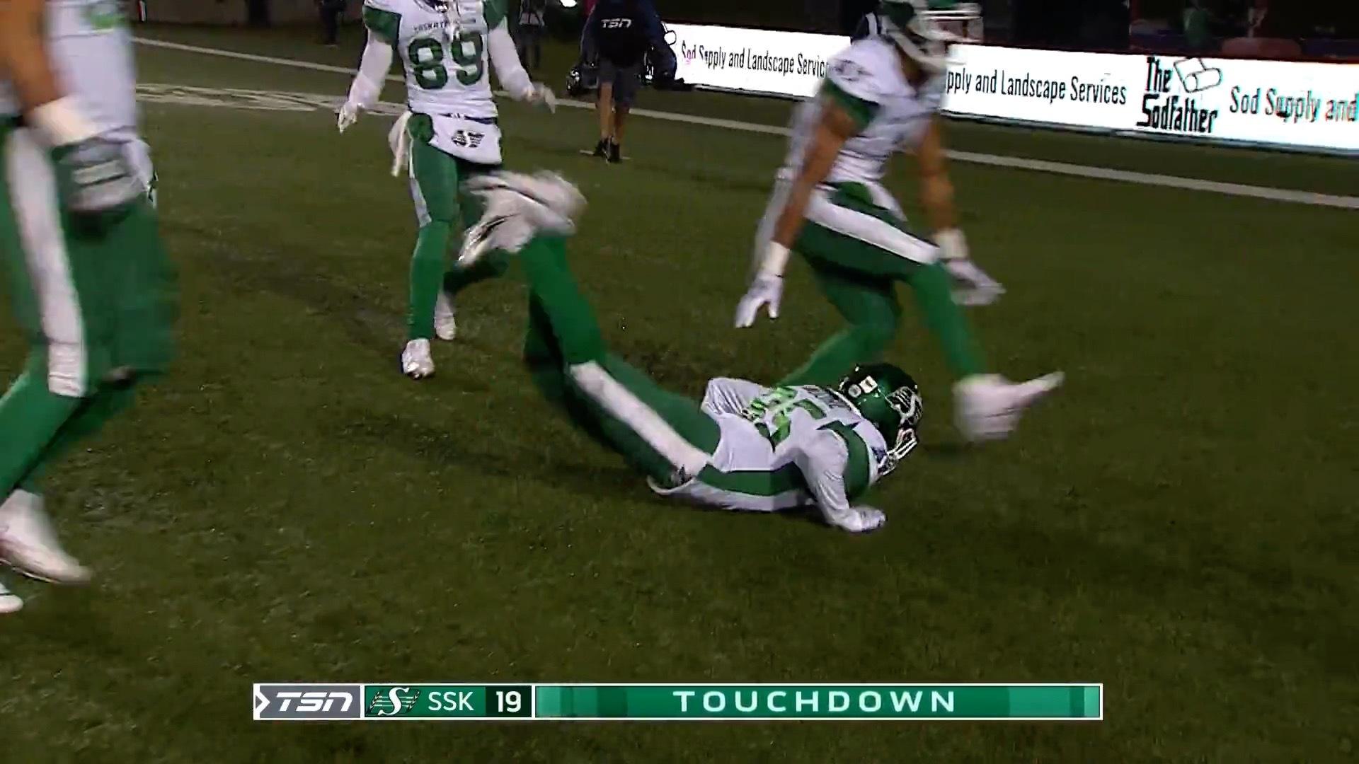 Third interception leads to Riders touchdown