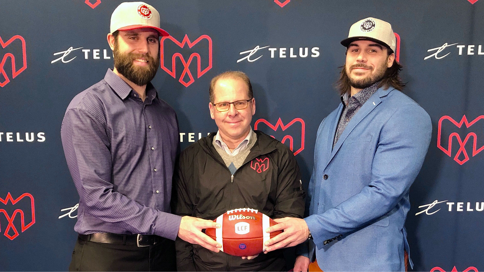 Press conference of David Ménard, Frederic Chagnon and Danny Maciocia - Montreal Alouettes