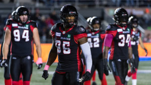 OTTAWA, ON - OCT 05: CFL match between the Ottawa RedBlacks and the Winnipeg Bombers at TD Place Stadium in Ottawa, ON. Canada on Oct. 5, 2018.  PHOTO: Steve Kingsman/Freestyle Photography