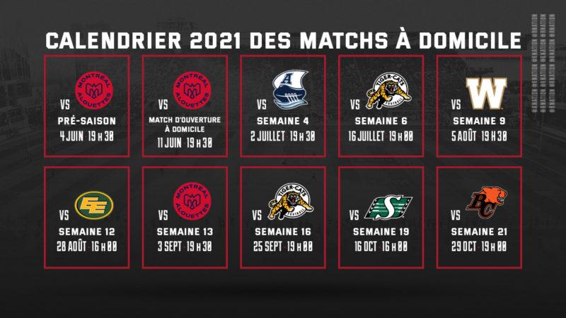 Le calendrier de la saison 2021