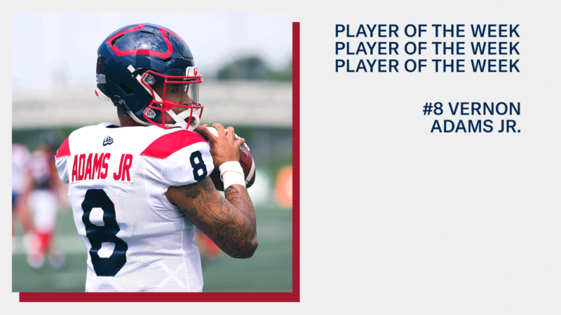 Vernon Adams Jr. among CFL Players of the Week