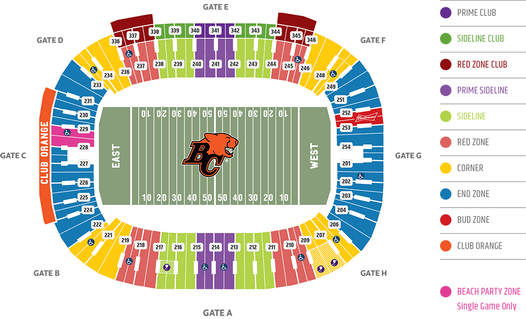 Bc Place Seating Map BC Place Seating Chart   BC Lions Bc Place Seating Map