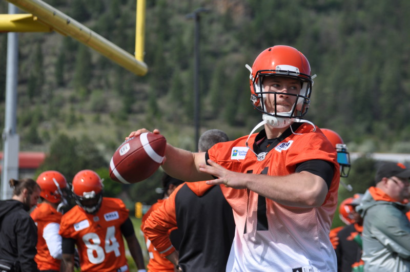 Michael O'Connor taking part in drills during 2016 training camp at Thompson Rivers University in Kamloops.