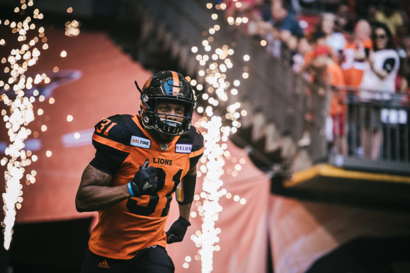 Otha Foster (31) of the BC Lions before the game against the Edmonton Eskimos at BC Place Stadium in Vancouver, BC on Thursday, August 9, 2018. (Photo: Johany Jutras / CFL)