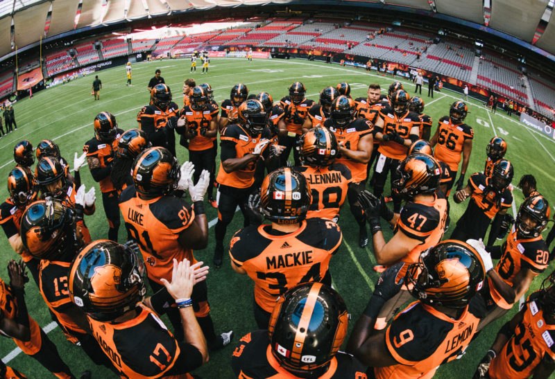 before the game against the XX at BC Place Stadium in Vancouver, BC on Thursday, August 9, 2018. (Photo: Johany Jutras / CFL)