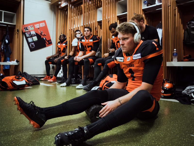 Ty Long (1) of the BC Lions in the locker room before the game against the Edmonton Eskimos at BC Place Stadium in Vancouver, BC on Thursday, August 9, 2018. (Photo: Johany Jutras / CFL)