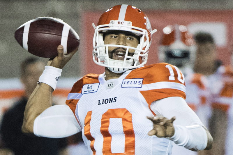 BC Lions quarterback Jonathon Jennings throws a pass during first half CFL football action against the Montreal Alouettes in Montreal, Friday, September 14, 2018. THE CANADIAN PRESS/Graham Hughes