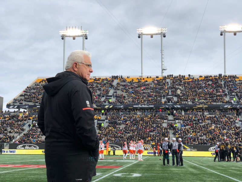 Wally Buono reflects during his final day as a CFL head coach on Sunday, November 11th, 2018. Photo: Alex Ruiz, BCLions.com