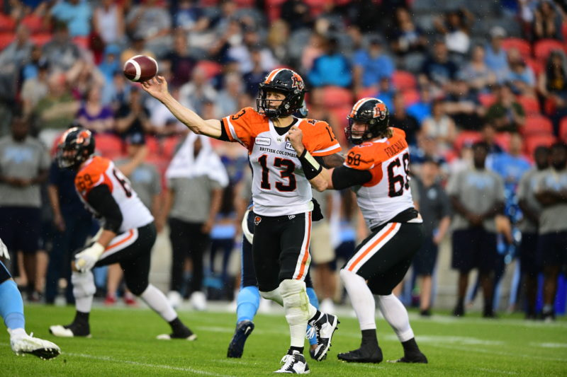 Mike Reilly led the CFL in passing yards before going down with a wrist injury on October 12th. Here, he throws a pass against Toronto on July 6th/2019. Photo: David Dermer