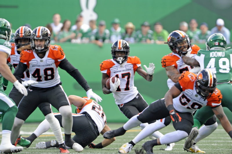 BC Lions defensive back Victor Gamboa finds a seam during first half CFL action against the Saskatchewan Roughriders, at Mosaic Stadium in Regina on Saturday, July 20, 2019. THE CANADIAN PRESS/Mark Taylor
