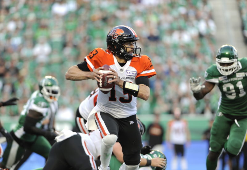 BC Lions quarterback Mike Reilly scrambles to find a pass during second half CFL action against the Saskatchewan Roughriders, at Mosaic Stadium in Regina on Saturday, July 20, 2019. THE CANADIAN PRESS/Mark Taylor