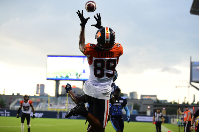 Duron Carter in action at Toronto's BMO Field on Saturday, July 7th, 2019. Photo: David Derner