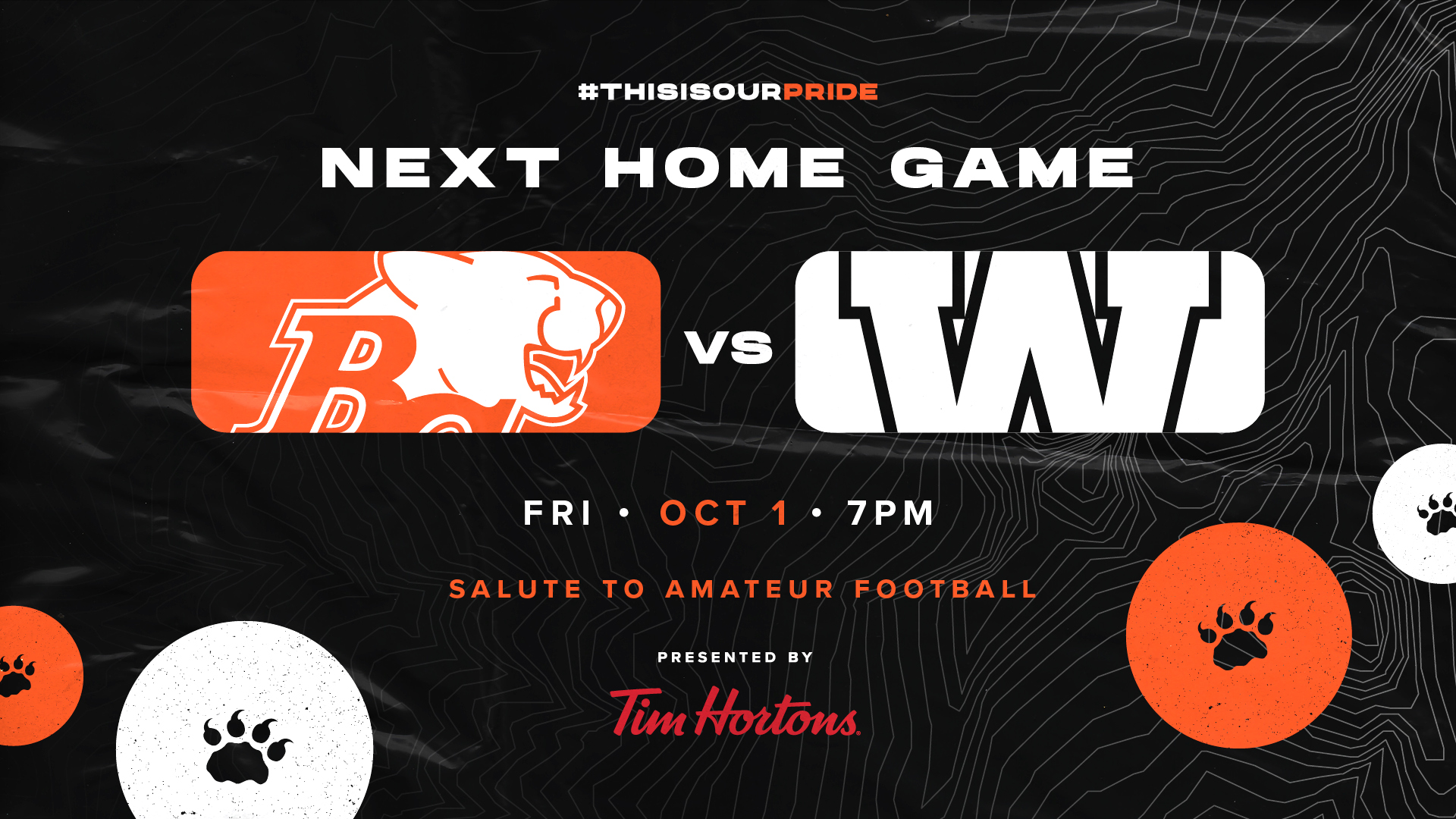 Oct 1ST    Lions Vs Bombers   BE THERE