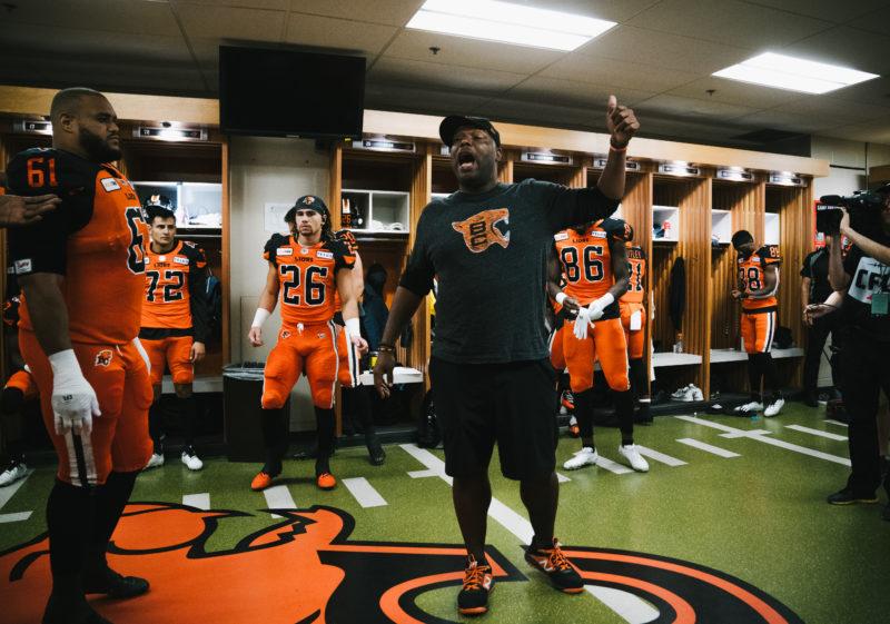 BC Lions head coach DeVone Claybrooks in the locker room before the CFL game between the Ottawa RedBlacks and the BC Lions at BC Place Stadium in Vancouver, BC, Friday, Sept. 13, 2019. (Photo: Johany Jutras / CFL)