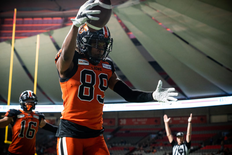 Duron Carter (89) of the BC Lions during the CFL game between the Ottawa RedBlacks and the BC Lions at BC Place Stadium in Vancouver, BC, Friday, Sept. 13, 2019. (Photo: Johany Jutras / CFL)