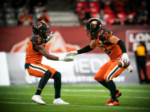 Branden Dozier (32) and T.J. Lee (6) of the BC Lions during the CFL game between the Ottawa RedBlacks and the BC Lions at BC Place Stadium in Vancouver, BC, Friday, Sept. 13, 2019. (Photo: Johany Jutras / CFL)