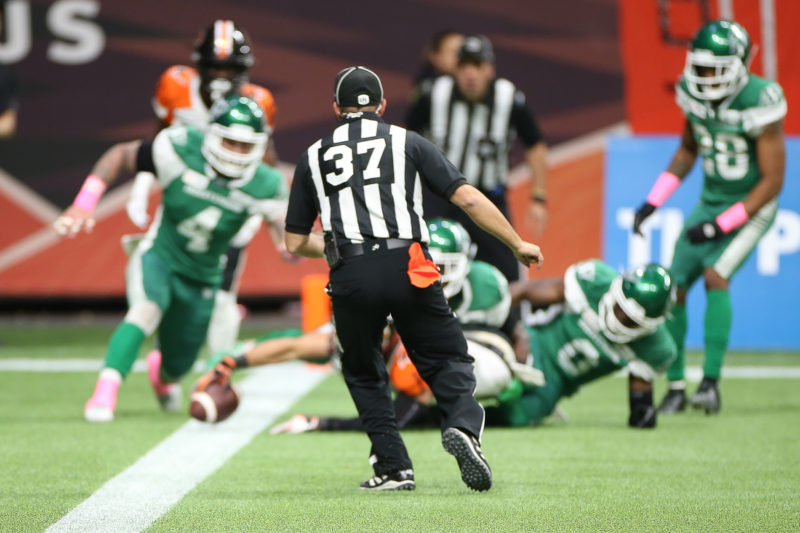 Bryan Burnham lunges for the end zone late in a 27-19 loss to Saskatchewan on Friday, October 18th.