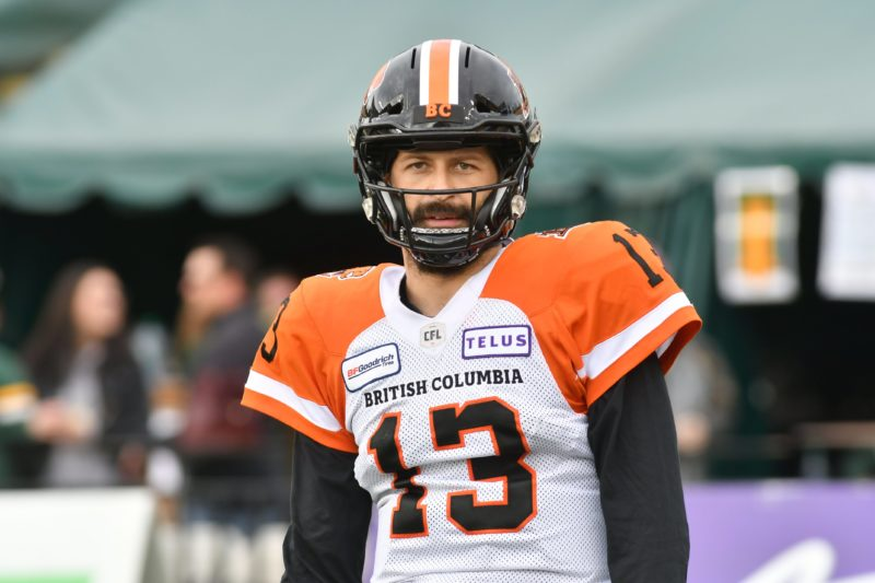 British Columbia Lions player #13 (QB) Mike Reilly is seen warming up out on the field before the 1st  quarter of CFL game action between the Edmonton Eskimo's and the British Columbia Lions at the Brick Field located at Commonwealth stadium in Edmonton Saturday, October 12, 2019. (CFL PHOTO - Walter Tychnowicz)