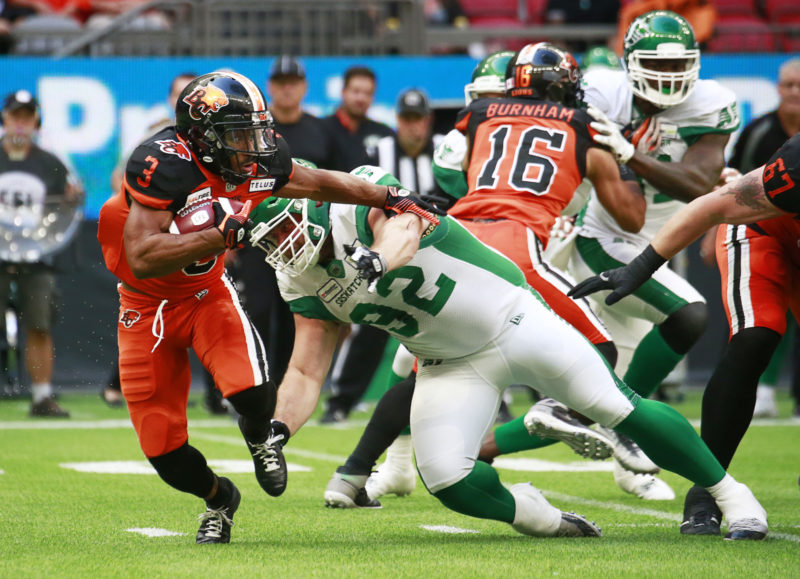 VANCOUVER, BC - JULY 27:  The Saskatchewan Roughriders play the BC Lions in their CFL game July 27, 2019 at BC Place in Vancouver, BC.  (Photo by Jeff Vinnick/BC Lions)