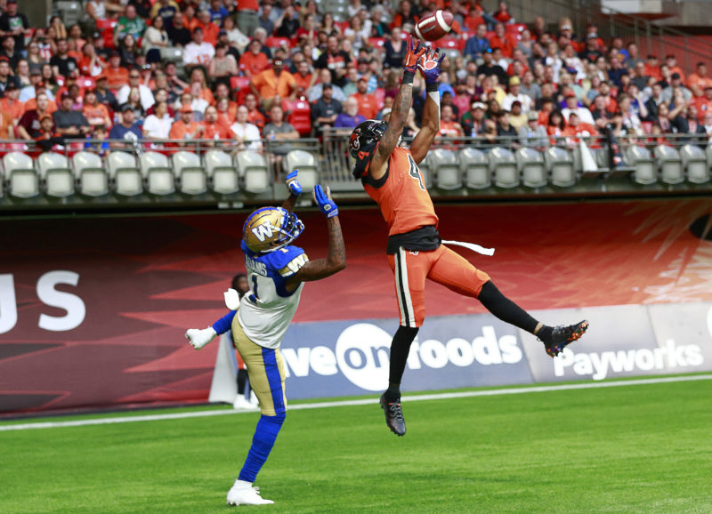 VANCOUVER, BC - JUNE 15:  The Winnipeg Blue Bombers play the BC Lions in their CFL game June 15, 2019 at BC Place in Vancouver, BC.  (Photo by Jeff Vinnick/BC Lions)