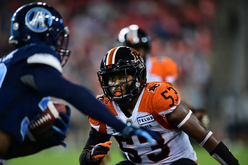 Jordan Herdman-Reed of the BC Lions lines up a tackle