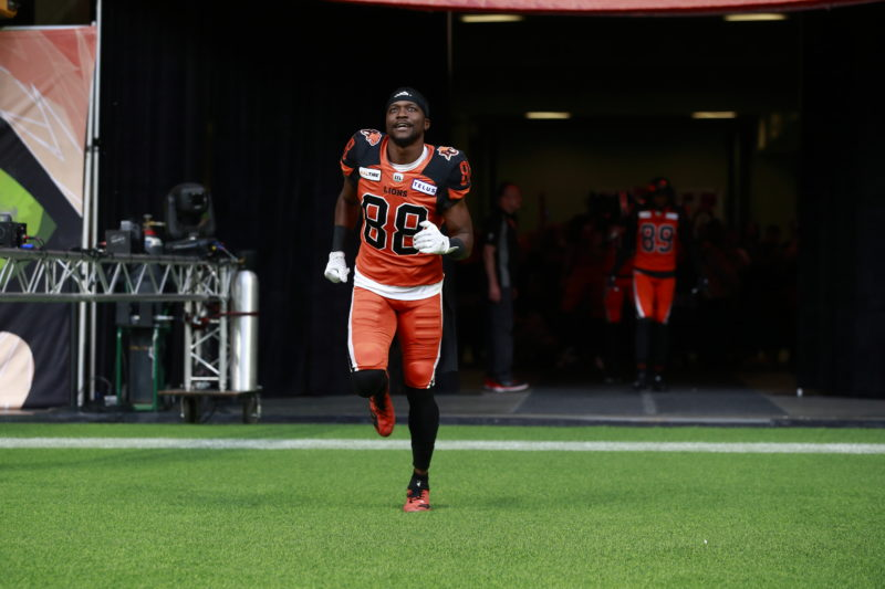Shaq Johnson gets introduced before a BC Lions home game