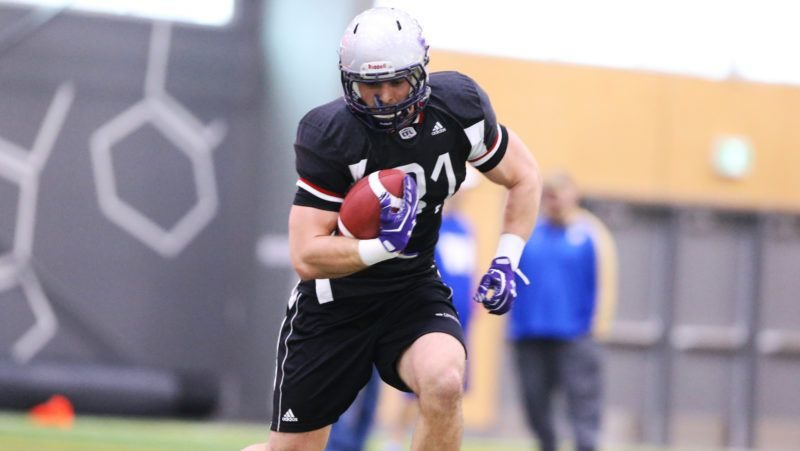 David Mackie participating in the 2018 CFL Combine ahead of the draft