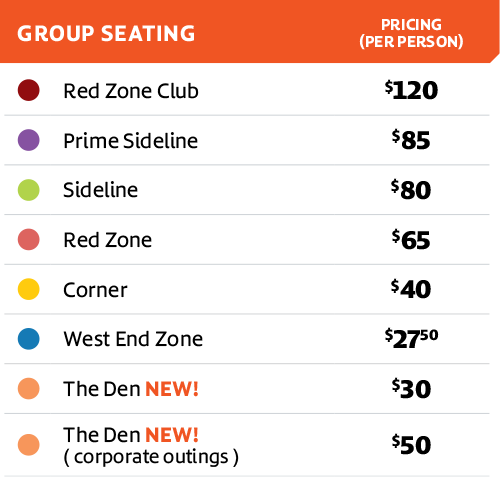 BC Lions 2020 Seating Chart Legend