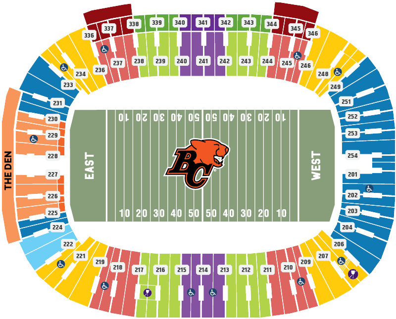 BC Lions 2020 Seating Chart Map