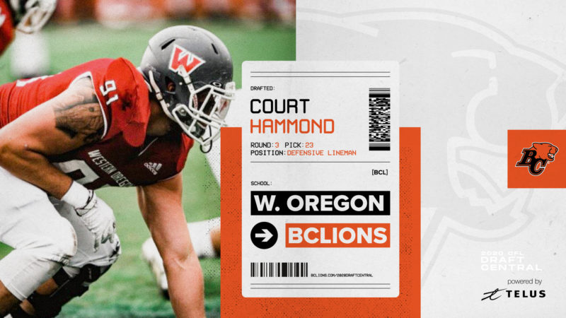 Court Hammond was selected in the third round of the 2020 CFL Draft by the BC Lions