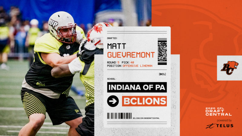 Matt Guevremont was drafted by the BC Lions out of IUP