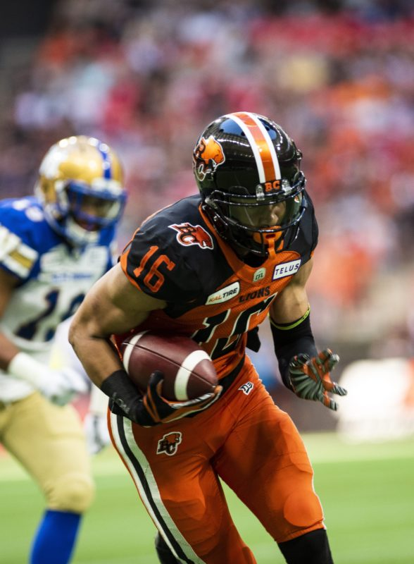 Bryan Burnham runs with the ball after a reception during the first half of CFL action in Vancouver, B.C., Saturday, June 15, 2019. (CFL PHOTO - Jimmy Jeong)
