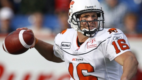 16 Buck Pierce throws a pass for the BC Lions