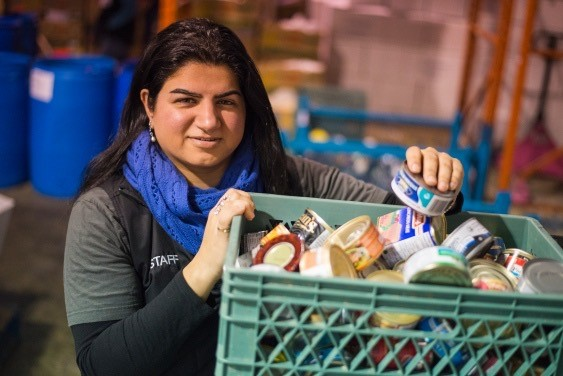 Feezah Jaffer working at the food bank