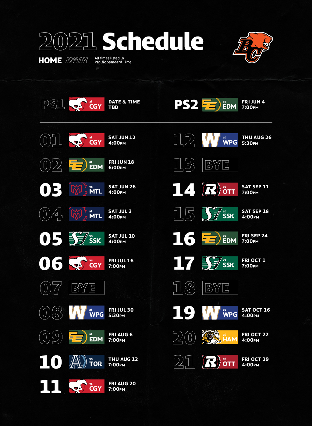 The BC Lions 2021 Schedule