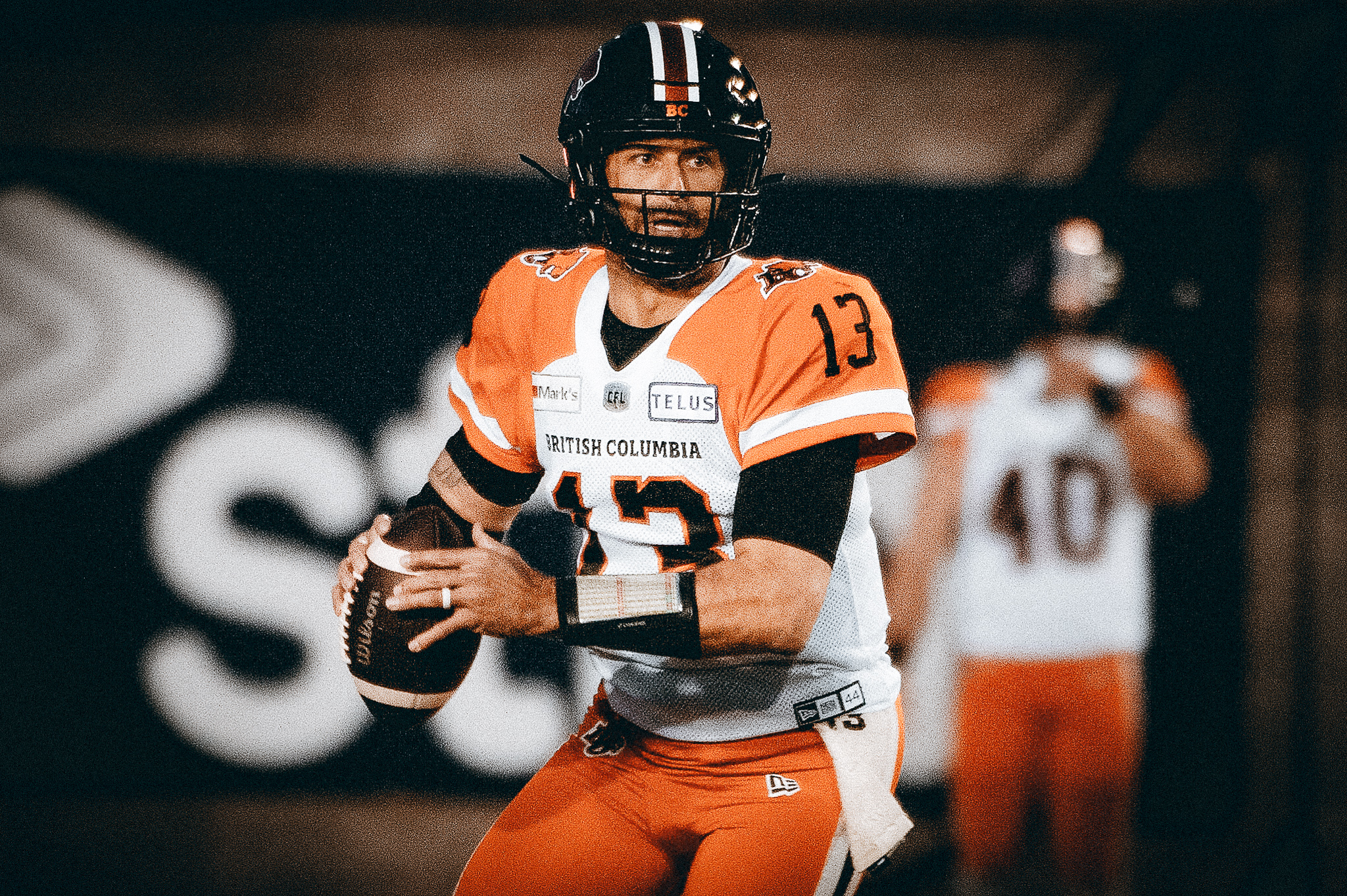 BC lions quarterback Michael Reilly looks for a clear receiver  during1st half CFL action against the Montreal Alouettes, in Montreal on Saturday September 18, 2021 (CFL PHOTO - Peter McCabe )