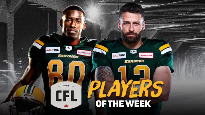 Eskimos Mitchell and Reilly Named CFL Players of the Week