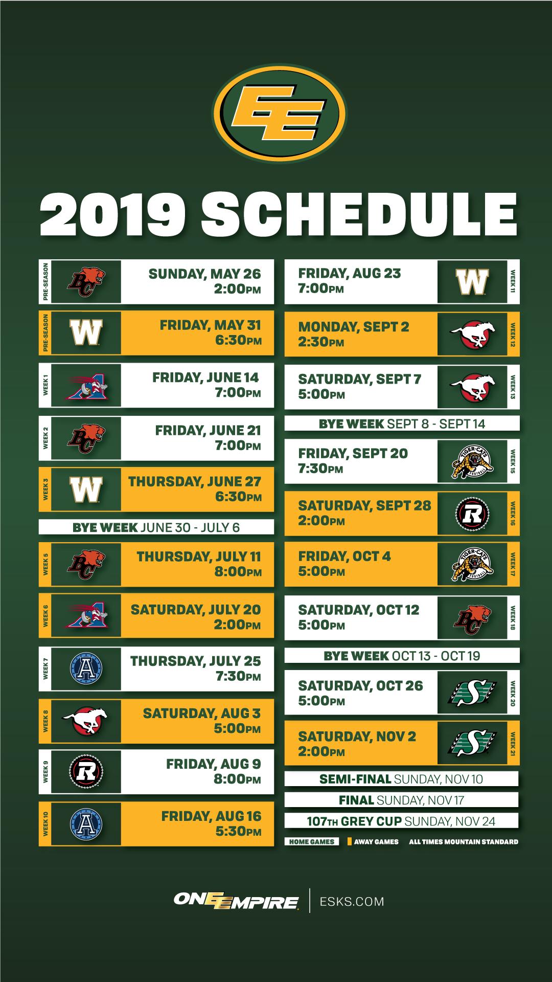 2019 schedule wallpaper - edmonton eskimos