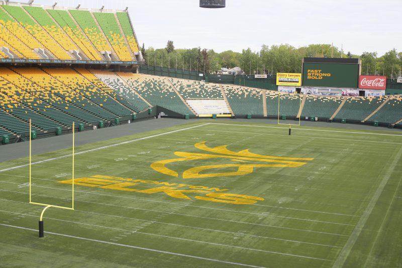 The Edmonton Eskimos unveil their new name and logo, The Edmonton Elsk in Edmonton, Alta., on Tuesday June 1, 2021. THE CANADIAN PRESS/Jason Franson.