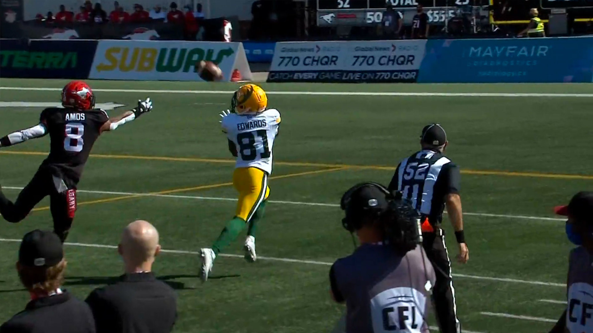 Harris finds Edwards for first CFL TD