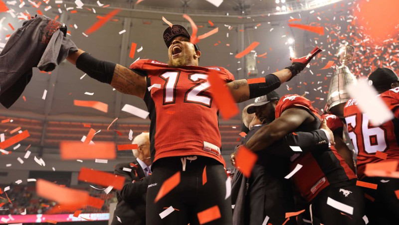 Linebacker Juwan Simpson after the 2014 Grey Cup (Photo by David Moll)
